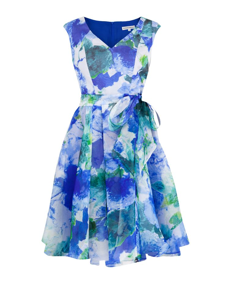 Blue Bouquet Print Silk Organza Fit & Flare Dress Image 0