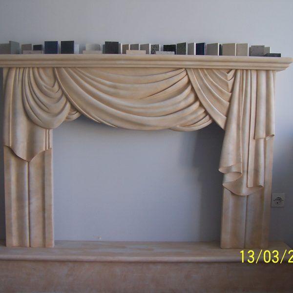 Fireplaces - Dionyssos Marble (patinated). Επενδύσεις Τζακιών Κουρτίνα - Πατιναρισμένο Μάρμαρο Διονύσου.