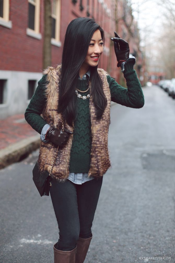 Winter casual outfit: chambray shirt, J.crew sweater, petite-friendly faux fur vest, boots
