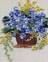 Image result for basket ribbon embroidery