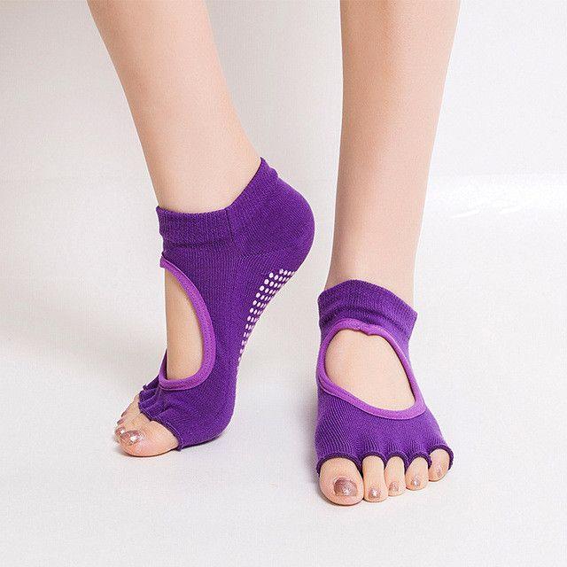 Women Girl Non-Slip Peep Toe Anti-Slip Pilates Socks Ankle Open Backless Floor Pilates Socks Granular Dacing Ballet Sox 2017