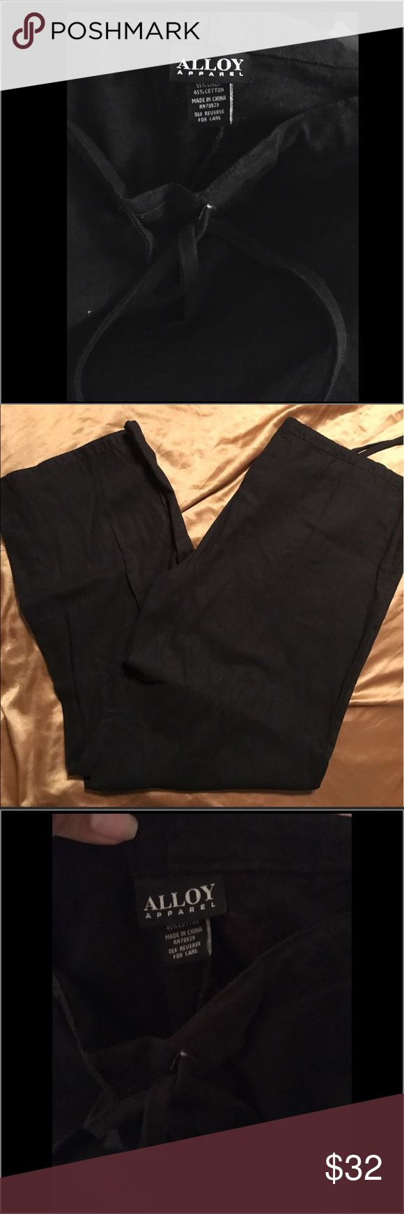 "NWOT💕black pants linen pants big and tall  pants New without tag 💕 I bought these off a Posher and I failed to notice that the inseam was very long. I do not require a 36"" inseam, I am only 5'6"". Anyways these are bomb 👌 gorgeous pants 😍. I do not want to cut them so I rather sell them. These pants were listed as XXX but they are actually 3XT‼️ these pants are super comfortable and fresh material 55% linen & 45% Cotton. Great steal!🌟 awesome name brand. Work pants black trousers Alloy…"