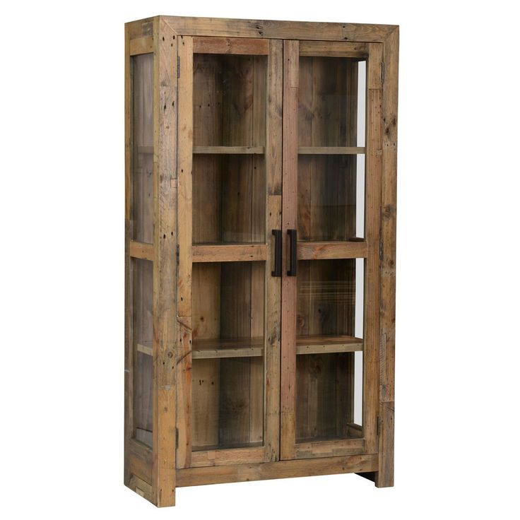 Add a touch of rustic charm to your home with this classic two-door curio cabinet. The beautiful cabinet is constructed from natural, reclaimed pine. The classic construction showcases the unique beauty of the wood, from knots to natural imperfections.