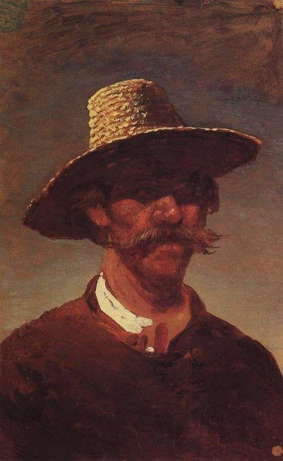 Голова крестьянина-украинца в соломенной шляпе. 1890-1895 Куинджи Архип Иванович