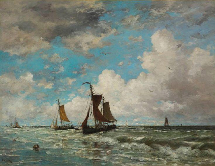 Hendrik Willem Mesdag - Vissersboten in de branding