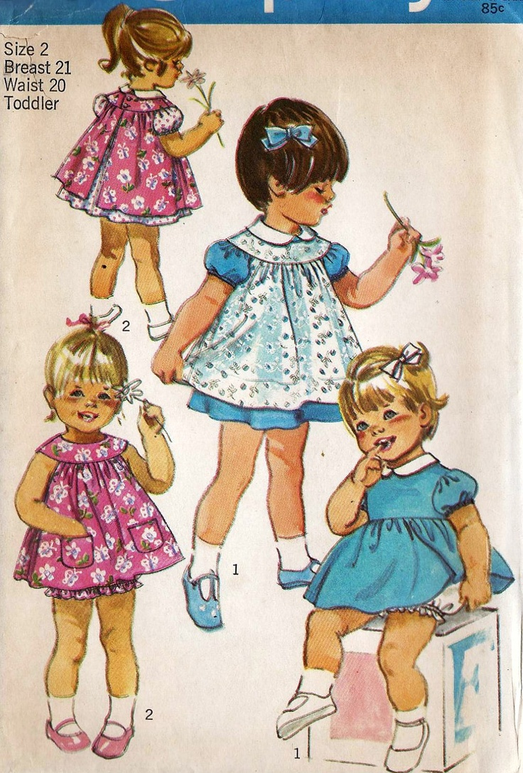 1970s Girls Toddlers Dress Pinafore And Panties Vintage Sewing Pattern Simplicity 9289 Size