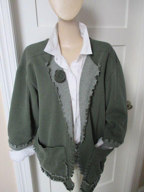 Sweatshirt Jacket, Appliqued Sweatshirt,Altered, Pigment Dyed Sweatshirt, Green Jacket, Fashionable Sweatshirt, Fringed Ladies Jacket