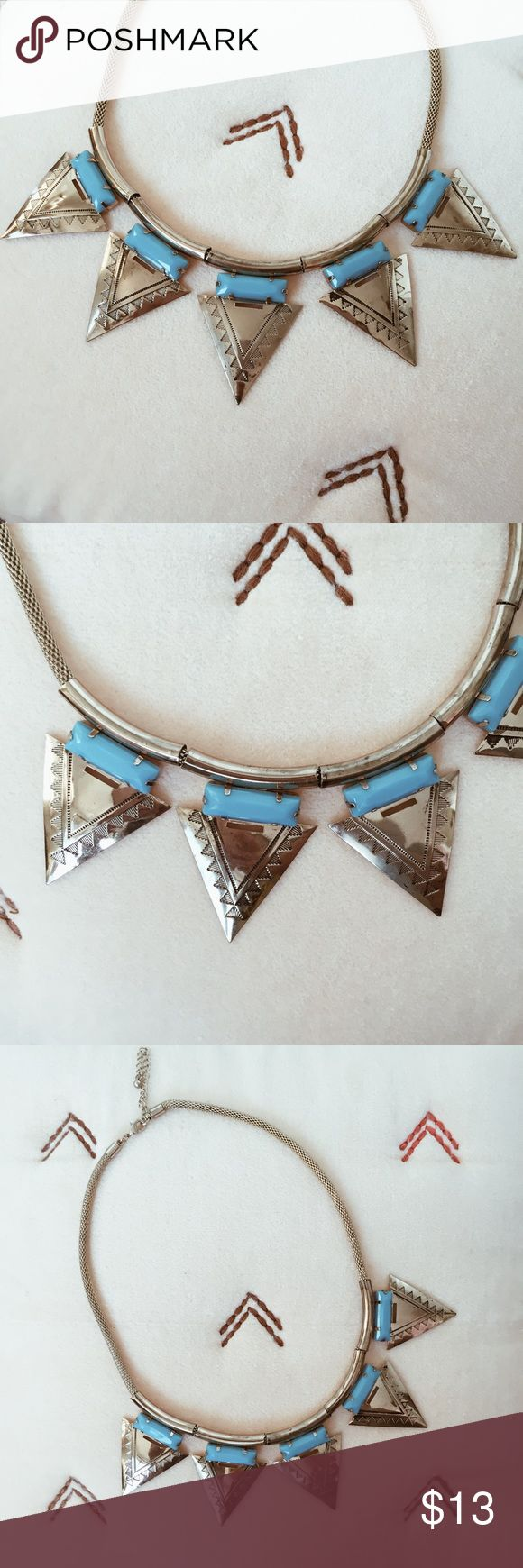 Aztec necklace Add a little Aztec goddess to your look! Lightly worn. Turquoise and gold. Jewelry Necklaces