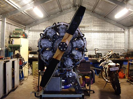 An now, for something really different! Russell Sutton's 9 cylinder radial engine. He has made this using Honda XR600 barrels and pistons with a stroke of 188mm now 868cc each making a total 7.8 litres. NA should make 250HP @2700 RPM, and super charged it should run approx 300HP at 4lbs of boost. Prop should produce around 800 lbs of thrust.