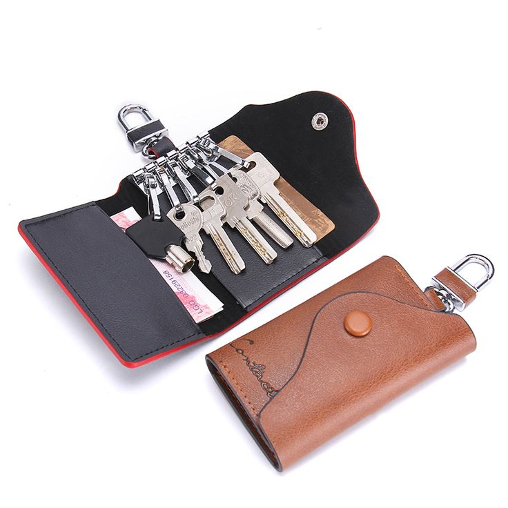 CONTACT'S 2017 New Men's Genuine Cow Leather Bag Car Key Wallets Fashion Women Housekeeper Holders Carteira 1004H Free Shipping