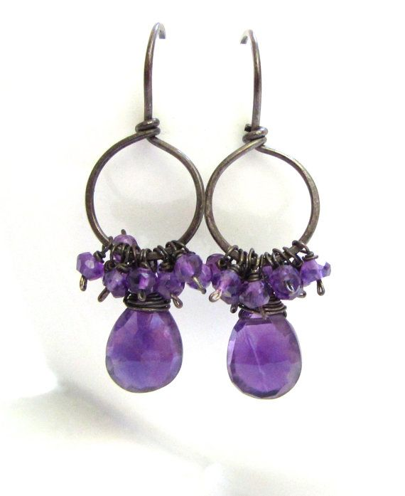 Amethyst Earrings on dark oxidized Sterling Silver Hoops - perfect for the Fall and a classy Halloween!