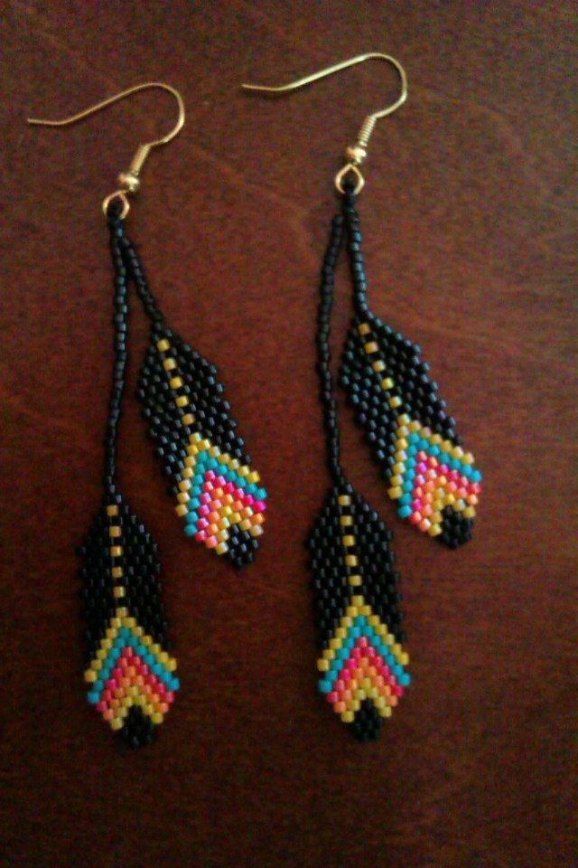 Beaded Feather Earrings. #beadwork via Etsy.