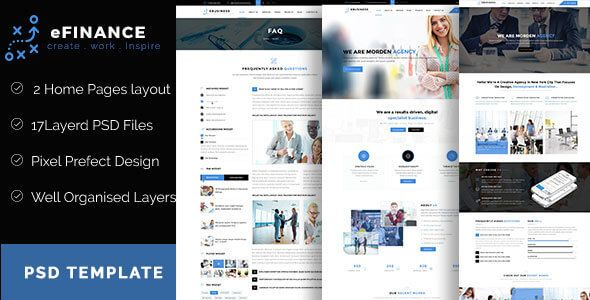 eFinance is the Perfect Business and Finance PSD Template,eFinance is best suited for corporate website like adviser, attorney, business, corporate accountant, finance, financial, insurance, invest...