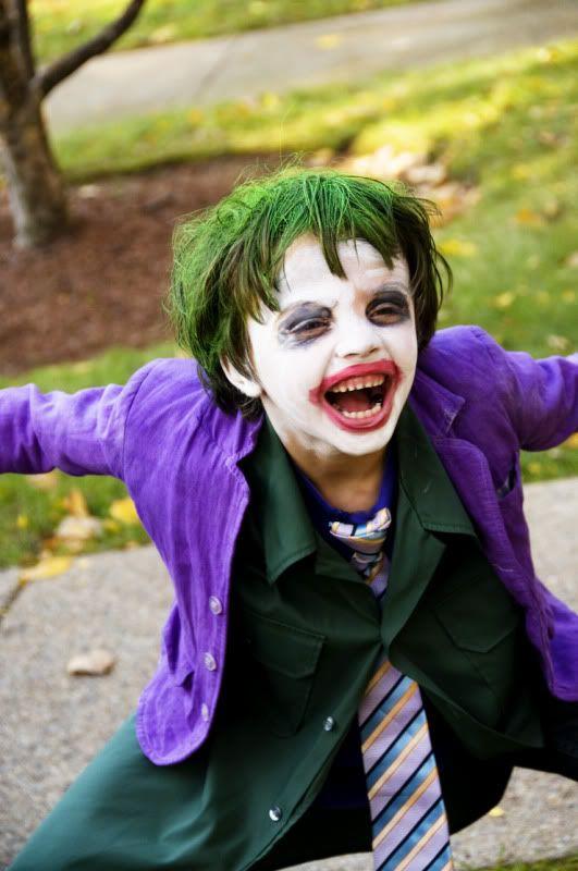 A Homemade Halloween Joker costume for kids
