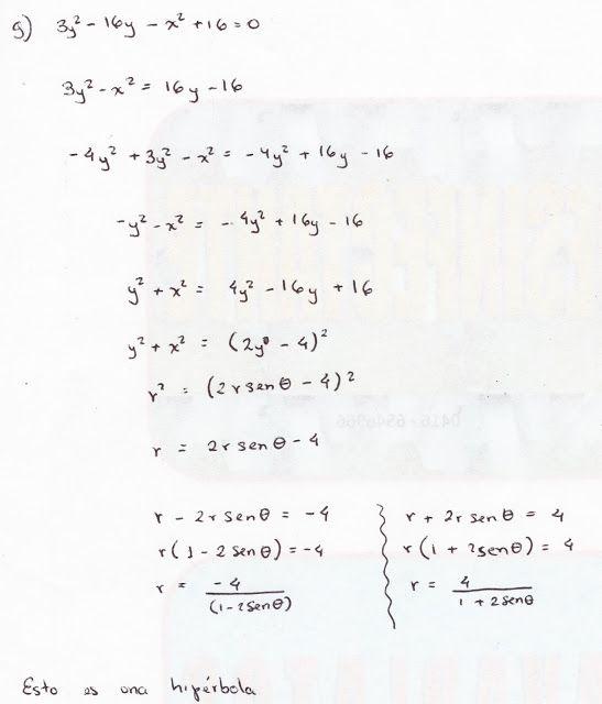 hipérbola, transformación de coordenadas polares a rectangulares