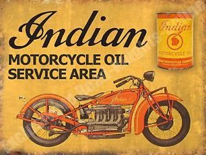 Vintage-Garage-42-Indian-Motorcycle-Oil-Service-Area-Old-Small-Metal-Tin-Sign