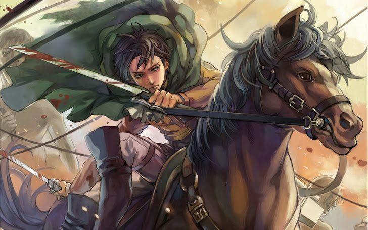 Levi Rivaille Attack on Titan Shingeki no Kyojin Riding Horse Blood Cape Weapon 3D Maneuver Gear Anime Male Boy HD Wallpaper b09.
