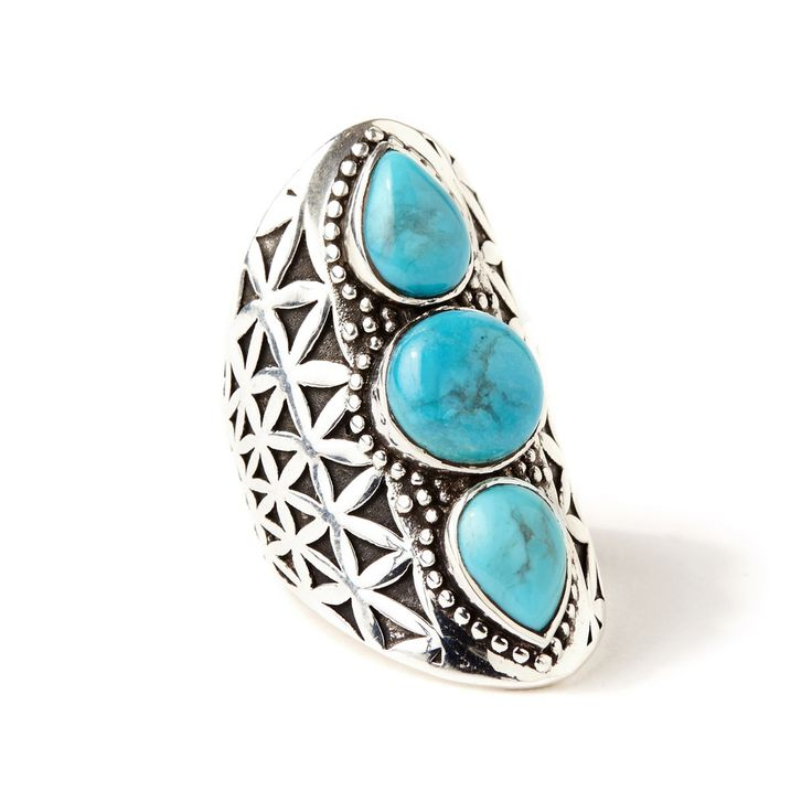 Flower of Life Ring | Silver / Turquoise