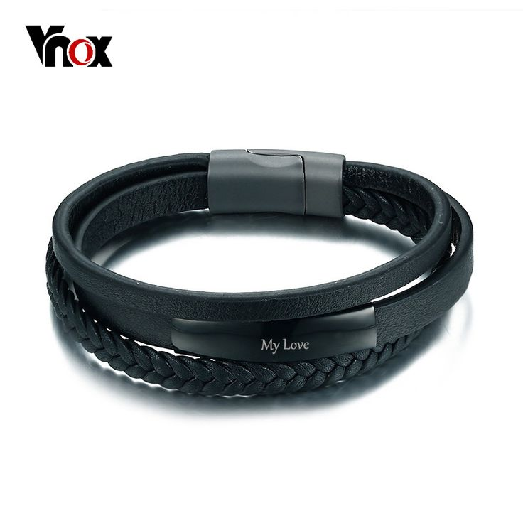 Vnox Genuine Leather Bracelet & Bangle for Men Multi-Layer Leather ID Identification Male Jewelry Engraved Service