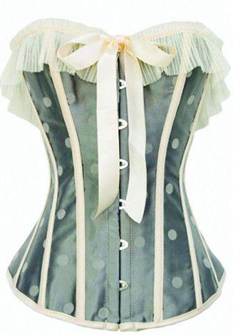 Burlesque Clothing | Grey Polka Dot Ruffled Corset Only $59.99
