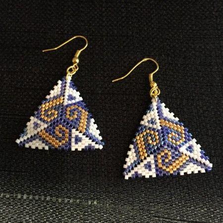 Boucles d'oreilles Miyuki tryskel or bleu saphir et blanc opaque