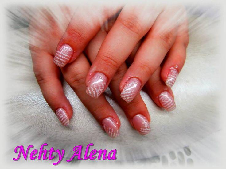 nail design, jemné, razítko, písmenka
