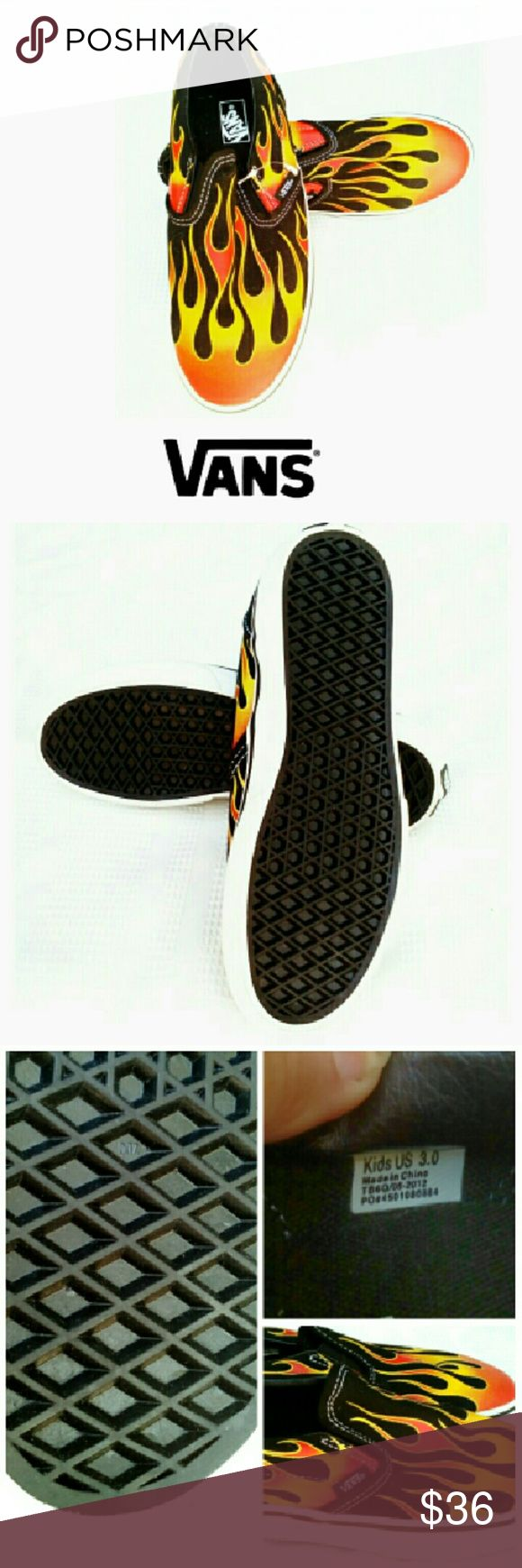 "★VANS""HOT ROD FLAMES""  SLIP ON SHOES *NEW VANS ""HOT ROD FLAMES"" SLIP ON SHOES *   Classic Van Slip Ons *   Black & Red Canvas *   Rubbed Perforated Soles *   Size Youth US 3.0 *   New, Never Worn *   Sold Out on Sites Vans Shoes Sneakers"