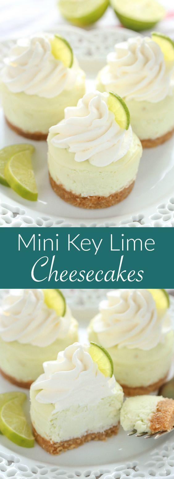 MINI KEY LIME CHEESECAKES - cake, cheesecake, dessert
