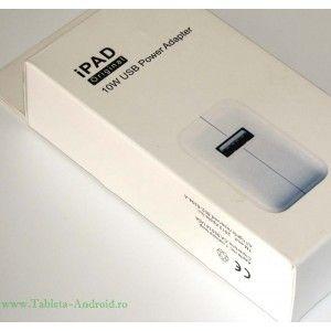 Incarcator original Apple 10w USB. Designed by Apple iin California. Assembled in China. Output : 5.1V 2.1A.  Conector european detasabil, nu necesita alte adaptoare pentru folosirea la prizele din Romania.