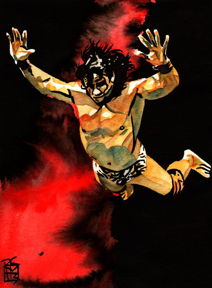 """Jimmy """"Superfly"""" Snuka by Rob Schamberger (ink and watercolor on 9"""" x 12"""" watercolor paper)"""
