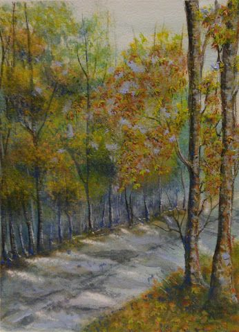 Waldweg - in Aquarell