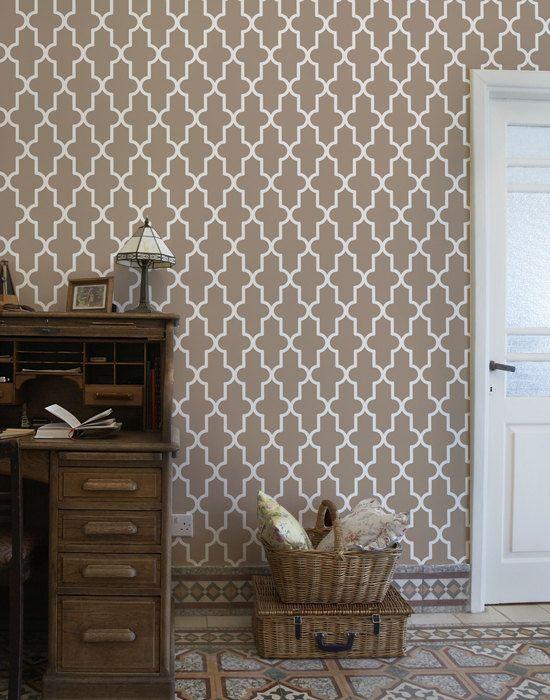 Ver quatrefoil - plantilla de pared grande elegante para la decoración casera - plantillas geométricas para el diseño de la pared interior - marroquí - decoración de la pared fácil