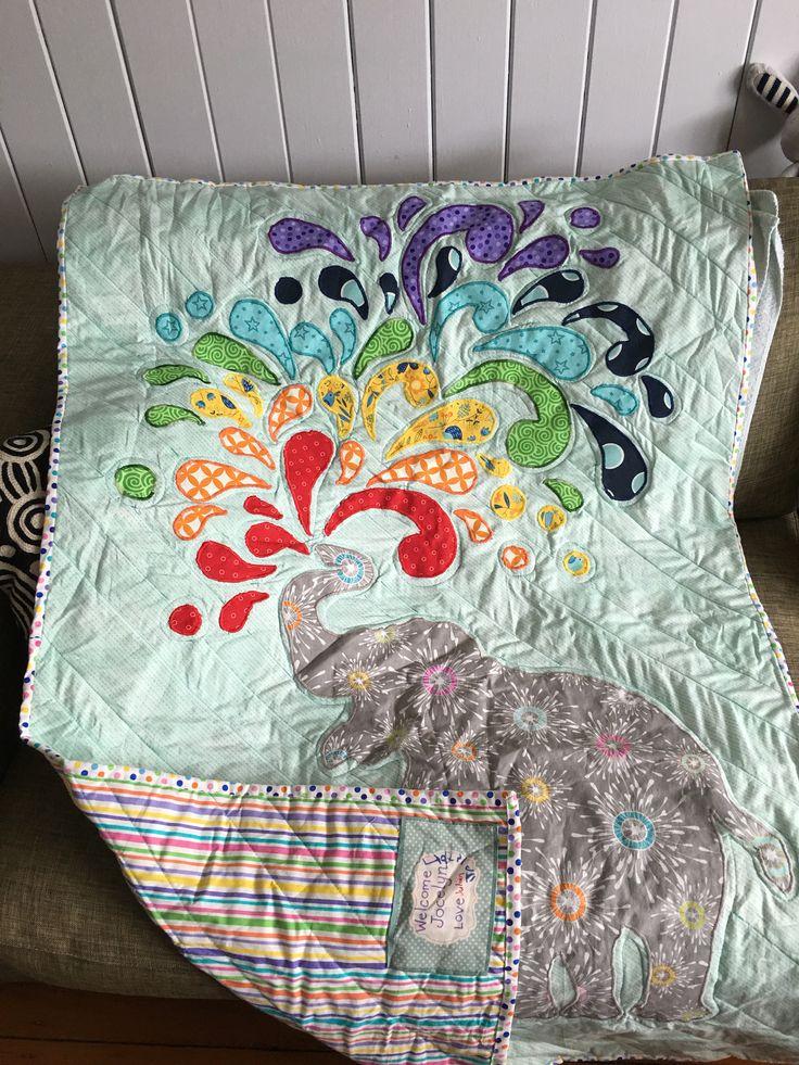 Rainbow elephant baby quilt for Joss