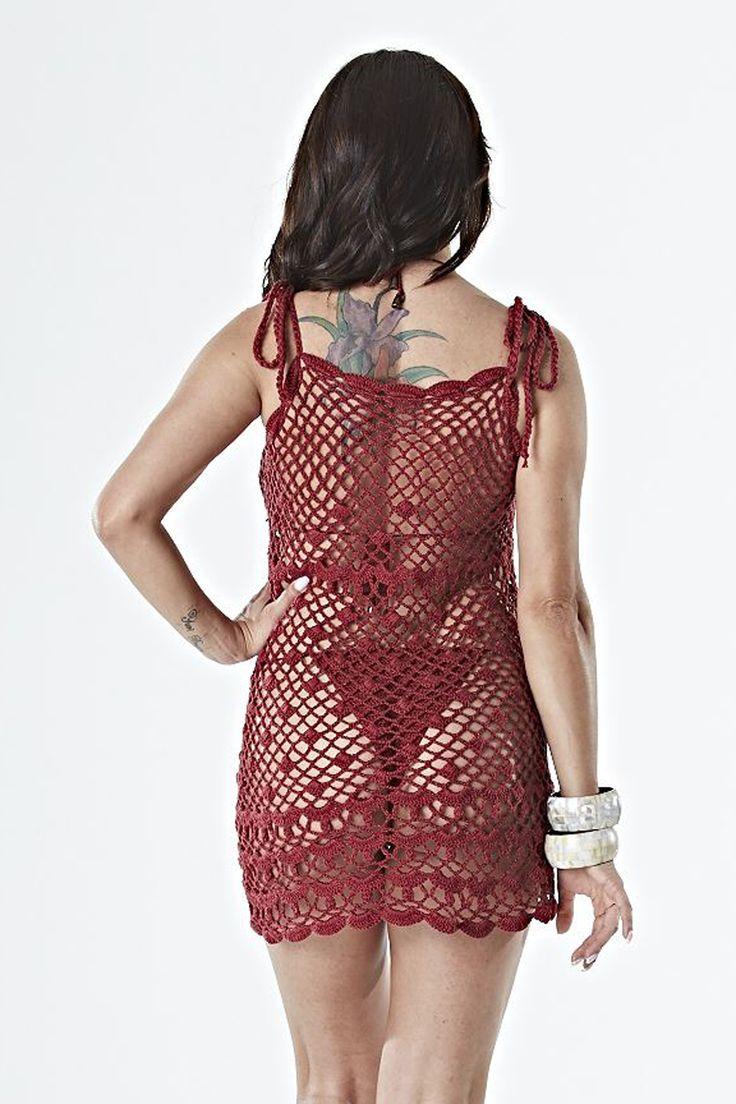 Sillas vintage el rinc 243 n di ree - Katia Ribeiro Moda Decora O Handmade Sa Da De Praia Marsala Em Croch Com Gr Fico E