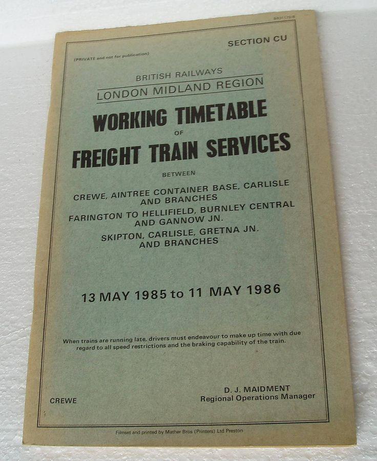Vintage Railway Working Timetable Freight Train Service L.M.R  British Rail 1985 /1986 by LakeDistrictEphemera on Etsy