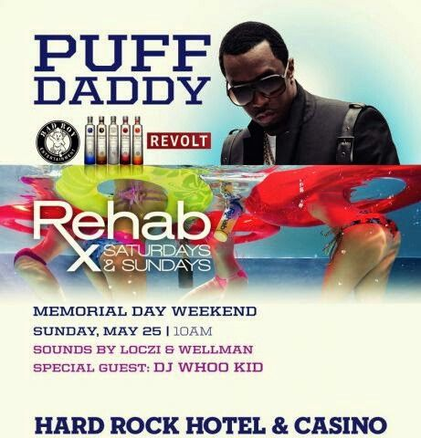 REHAB Las Vegas Sunday May 25th Memorial Day Weekend with Puff Daddy. Contact 702.741.CITY(2489) City VIP Concierge for Cabanas, Daybeds, Bungalows and the BEST of Any & Everything Fabulous Memorial Day Weekend in Las Vegas!!! #PuffDaddyLasVegas #RehabLasVegas #VegasPoolParties #MemorialDayWeekendLasVegas #CityVIPConcierge **CALL OR CLICK TO BOOK** www.CityVIPConcierge.com