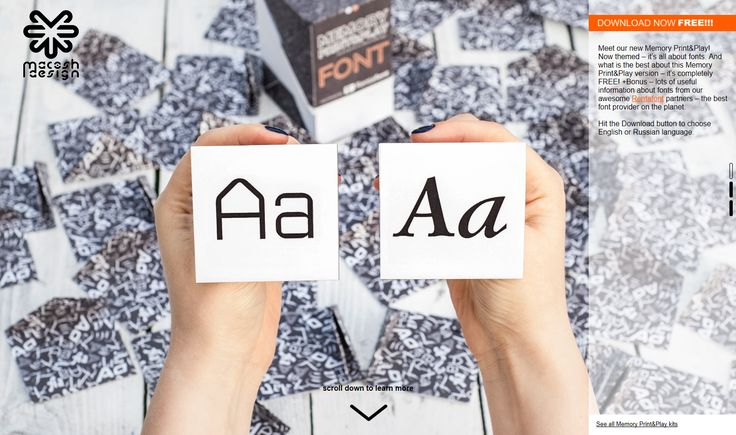 """DIY boardgame """"Memory FONT"""" by Macosh Design with Rentafont fonts!"""