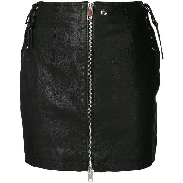 Diesel zip front mini skirt (3.360 HRK) ❤ liked on Polyvore featuring skirts, mini skirts, black, leather mini skirt, short mini skirts, mini skirt, short skirts and short leather skirt