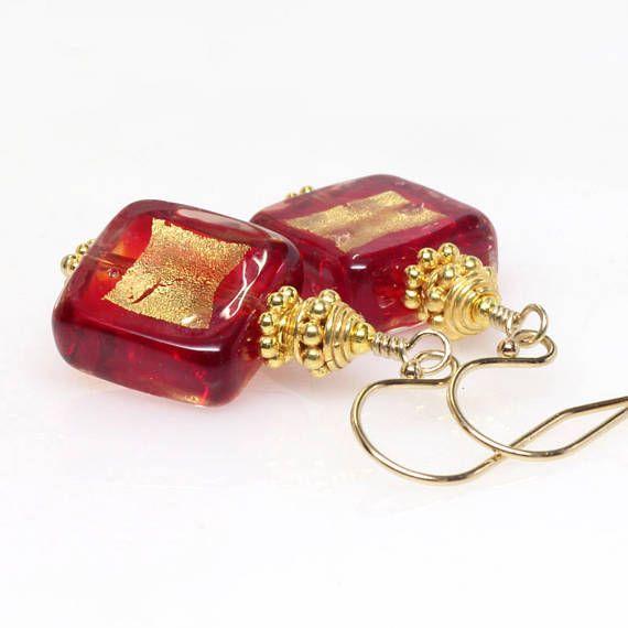 Red Venetian Murano Lampwork Glass Earrings Red Murano Glass