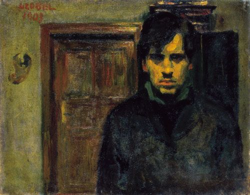 "CZÓBEL BÉLA. (1883-1976). Self portrait. Hungarian post-impressionist painter, member of ""The Eight"""