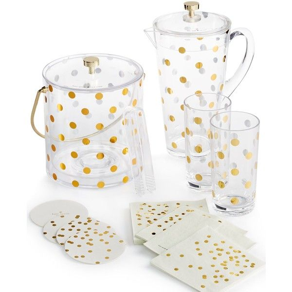 kate spade new york Gold Dots Acrylic Ice Bucket ($62) ❤ liked on Polyvore featuring home, kitchen & dining, bar tools, drink bucket, acrylic champagne bucket, acrylic wine bucket, gold bucket and polka dot bucket
