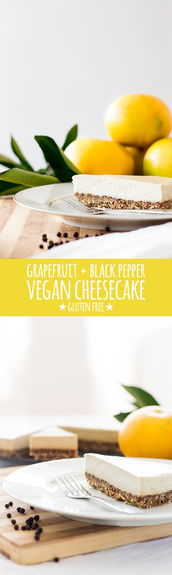 A beautifully creamy cashew-based vegan and gluten free cheesecake with grapefruit and a touch of black pepper. It's an unusual but stunning combination. via @quitegoodfood