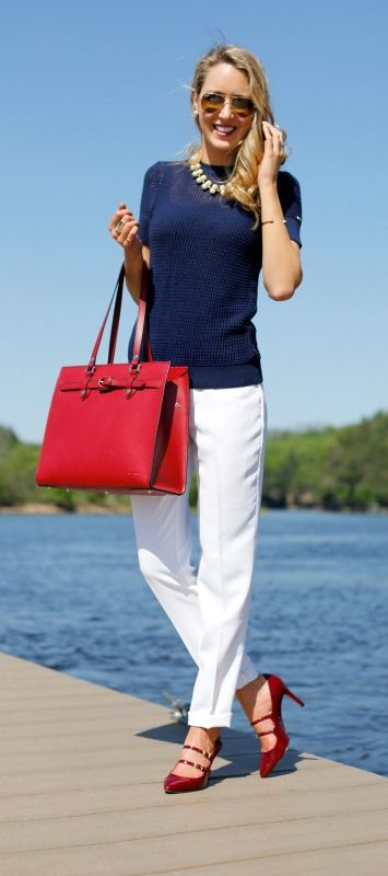 white silk pants + navy mesh sweater + red pumps + red tote bag + pearl statement necklace