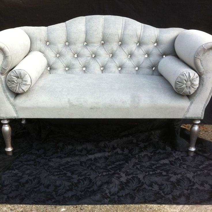 Small Double Ended Chaise Longue In Silver/Grey Velvet