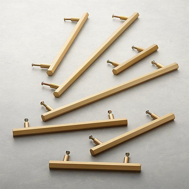 Hex Brushed Brass Handles Brass Handles Brass Kitchen Hardware Brushed Brass