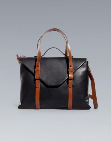 New Zara TRF Black City Messenger Bag Brown Handles Strap Faux ...