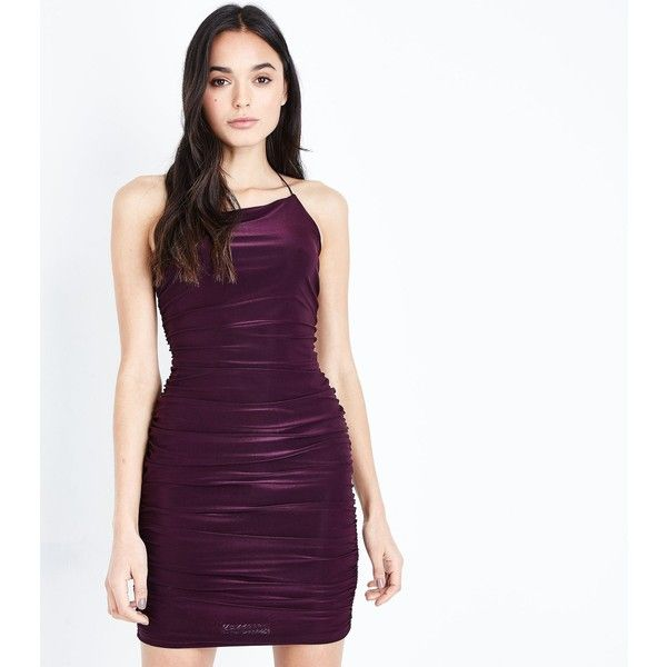 AX Paris Dark Purple Ruched Backless Dress ($39) ❤ liked on Polyvore featuring dresses, dark purple, ruching dress, ruched cocktail dress, party dresses, holiday party dresses and night out dresses