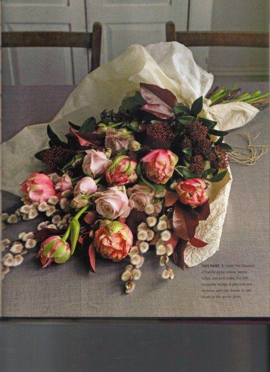 Peony, rose and pussy willow bouquet from Jane Packer's new book.