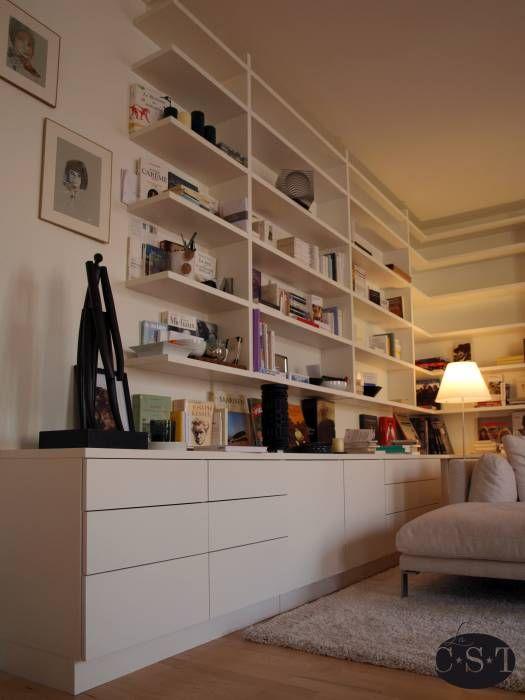 Bibliothèque en angle - détail: Salon de style Minimaliste , épuré, lumineux par La C.S.T - design, agencement, ameublement sur-mesure