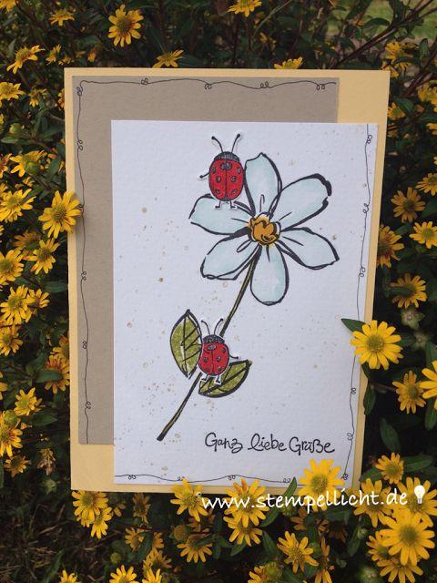 Stempellicht: Grußkarte mit Käfer aus Love You Lots